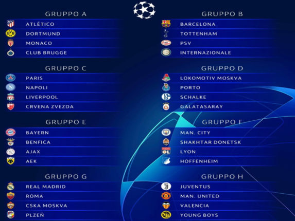 Primo turno a gironi UefaChampions League 2018 2019 Sorteggi dei gironi Champions League 2018 19