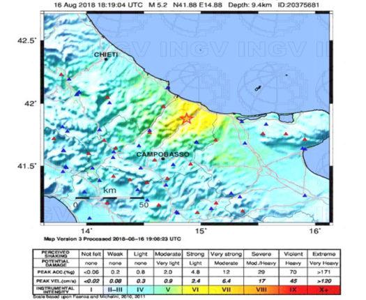 Scossa di terremoto 5.2 a Montecilfone