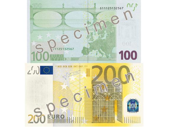 Nuove banconote da 100 e 200 euro a Maggio 2019