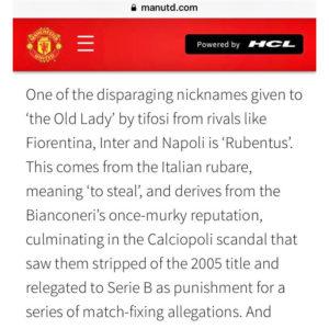 Juventus diventa Rubentus sul sito del Manchester U il testo
