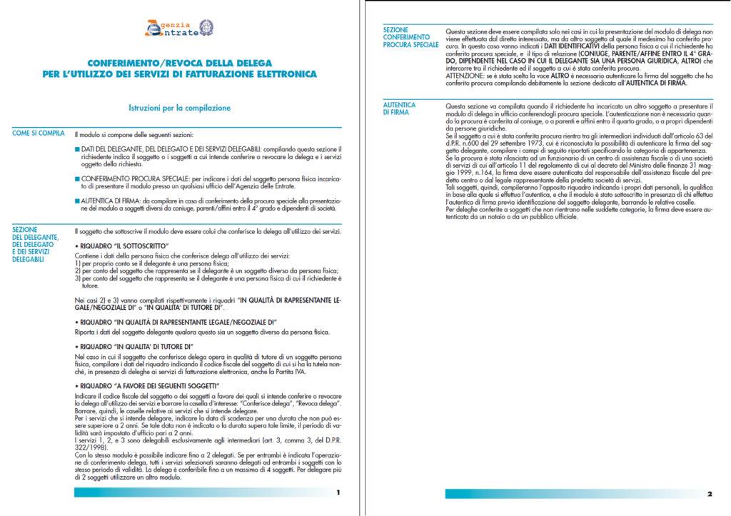 conferimento e revoca della delega servizi fatturazione elettronica istruzioni