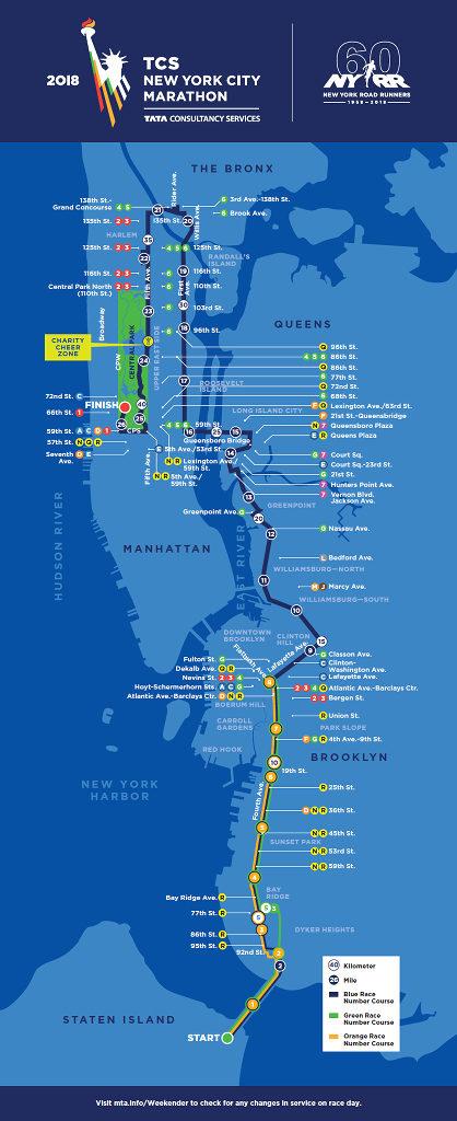 TCS New York City Marathon 2018 map