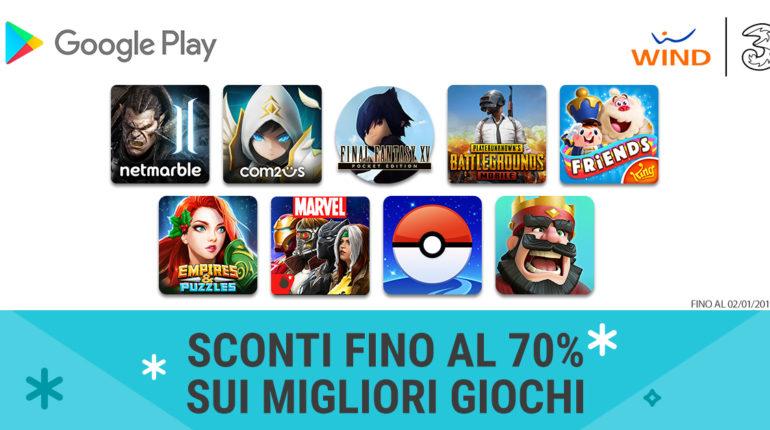 Google Play sconti speciali per utenti Wind Tre per le festività