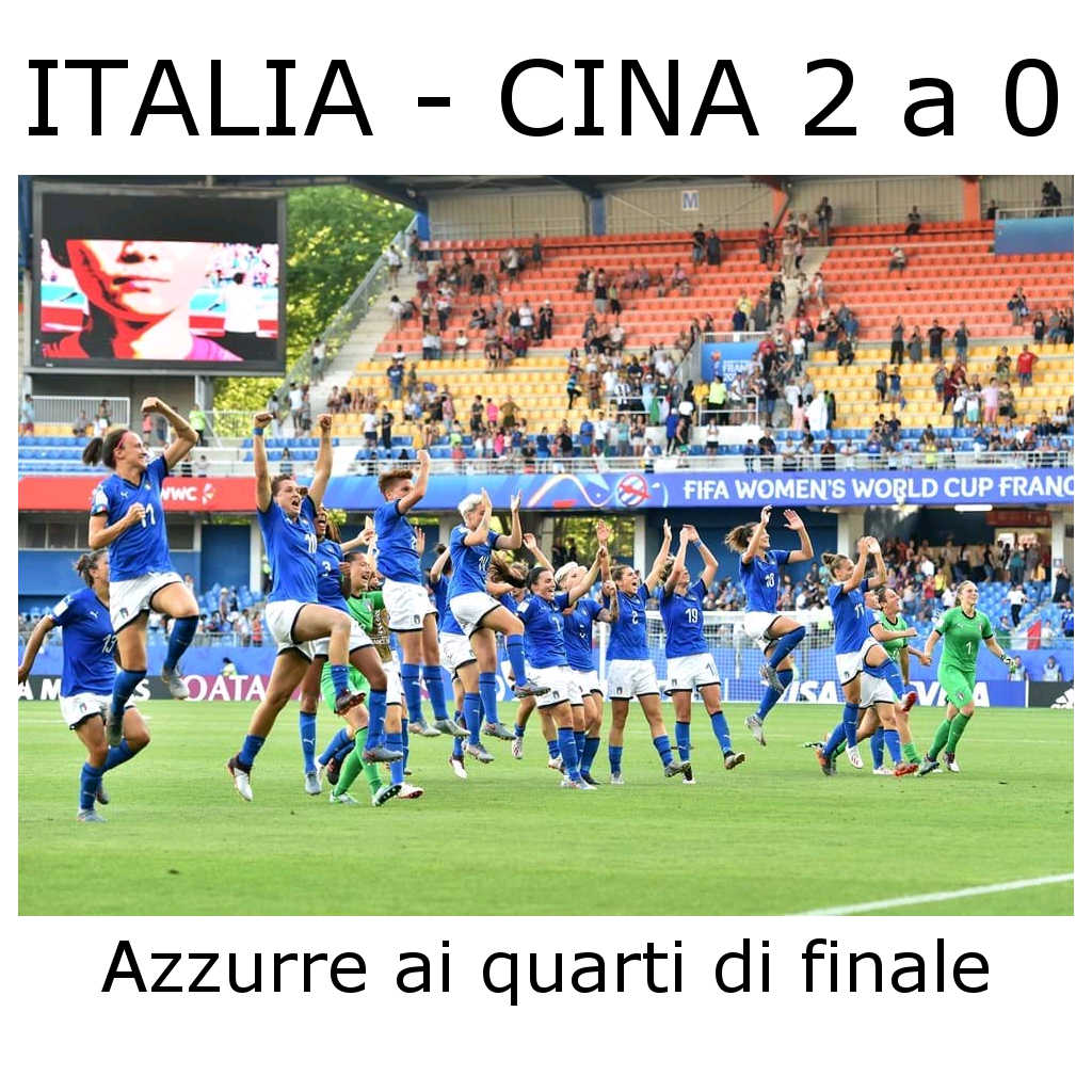 Mondiali femminili: Italia Cina 2 a 0
