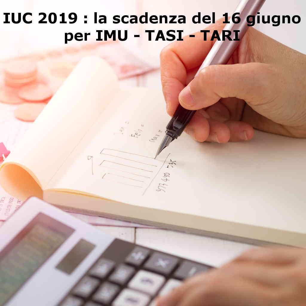 Versamento TARI 2019 Acconto IMU 2019 scadenza IUC giugno