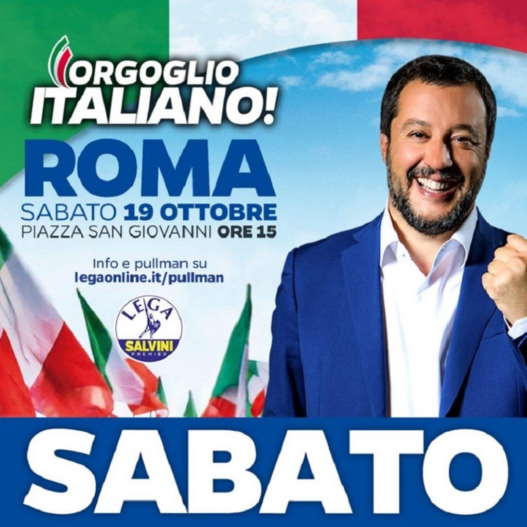 Matteo Salvini in piazza contro il governo