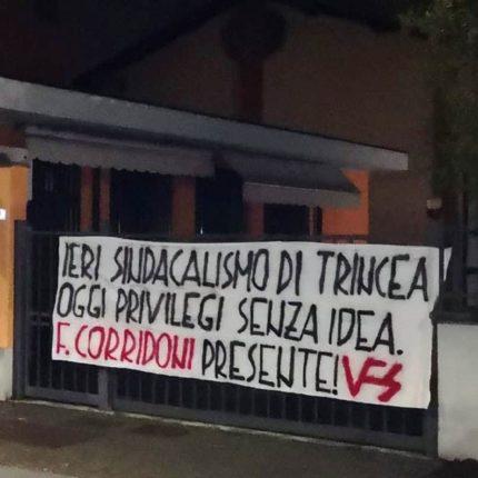 Polemiche per uno striscione su Filippo Corridoni