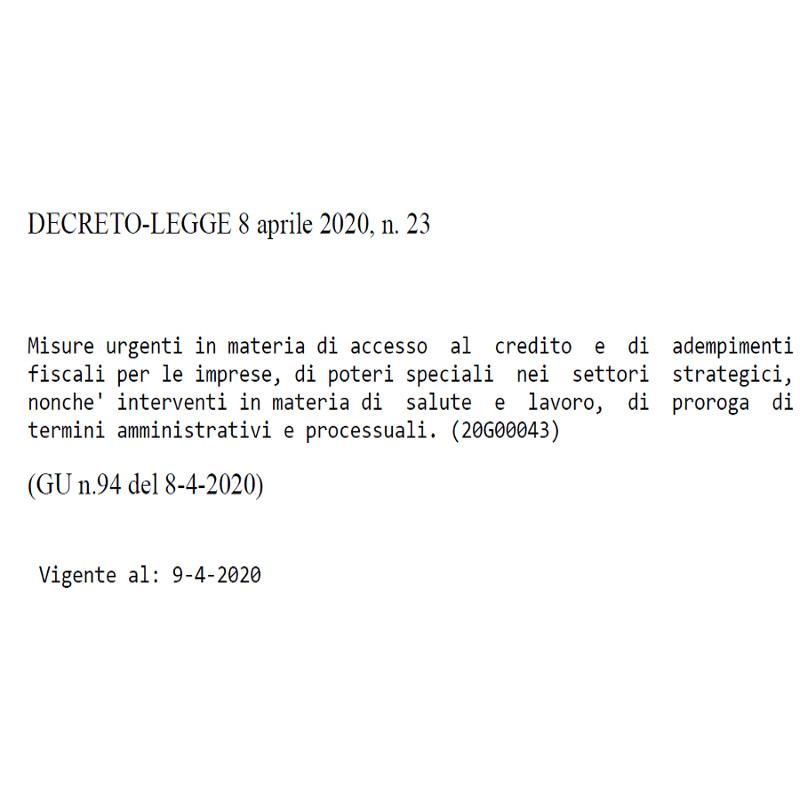 Decreto 8 aprile 2020 23 in Gazzetta Ufficiale