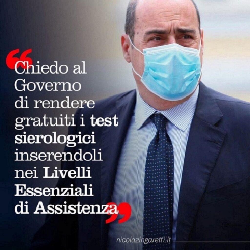 Zingaretti vuole rendere gratuiti i test sierologici