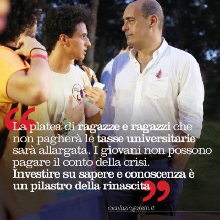 Stop alle tasse universitarie, il plauso di Zingaretti