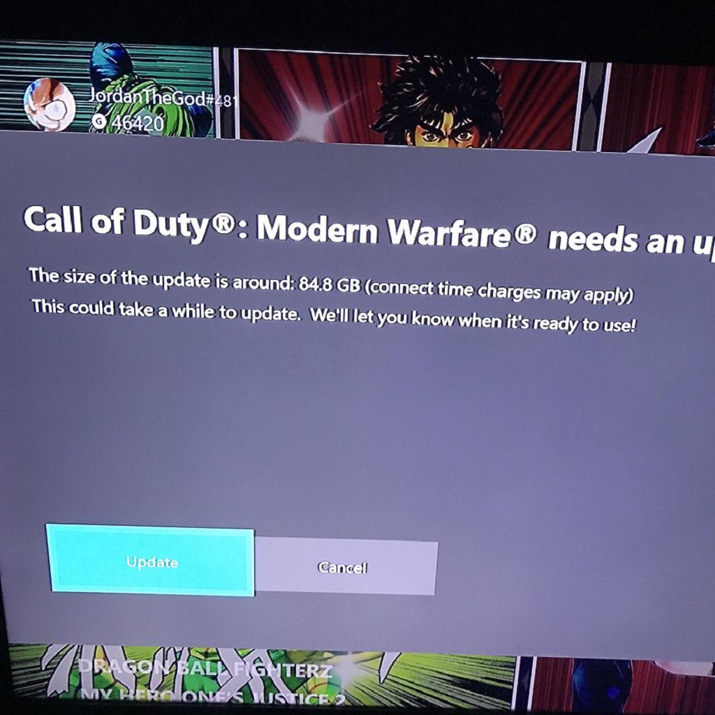 Aggiornamento Call of Duty di 84.8 GB