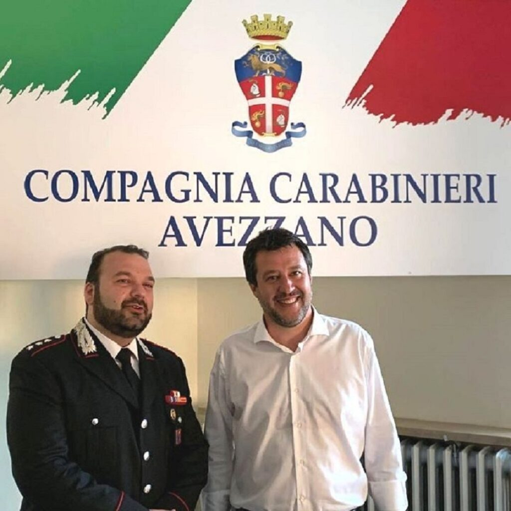 Salvini ad Avezzano per solidarietà al Carabiniere ferito