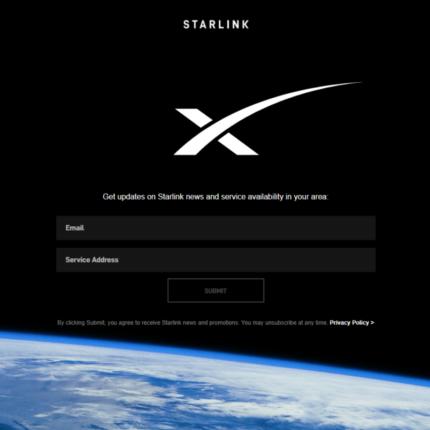 online la pre-registrazione al servizio Starlink