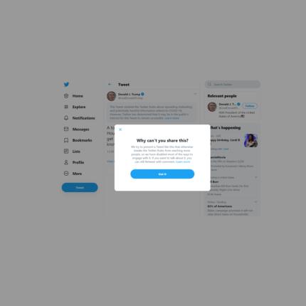 Trump immune al Coronavirus: Twitter segnala il post del Presidente