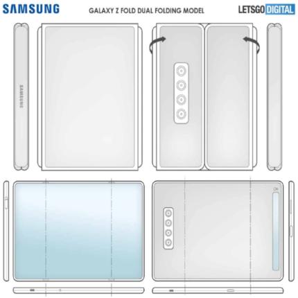 Samsung brevetto trifold: smartphone con display ripiegabile