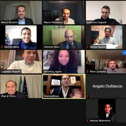 Berlusconi alla videoconferenza dei coordinatori di Forza Italia Giovani
